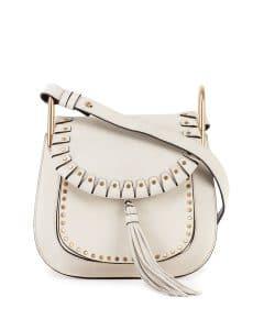 Chloe White Studded Hudson Small Bag