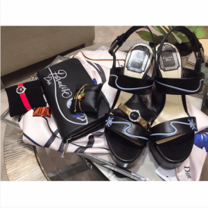 Dior Black Paradise Printed Wallet and Wedge Sandals - Cruise 2016