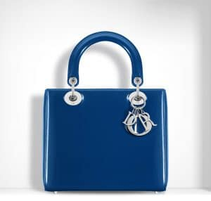 Dior Blue Patent Lady Dior Bag
