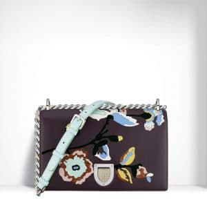 Dior Brown Marquetry Flower Diorama Bag
