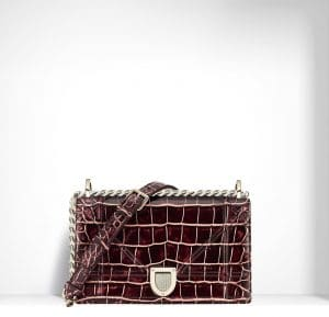 Dior Burgundy/Pink Patinated Diorama Small Bag