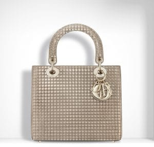 Dior ChampangeMetallic Calfskin with Micro-Cannage Motif Lady Dior Small Bag