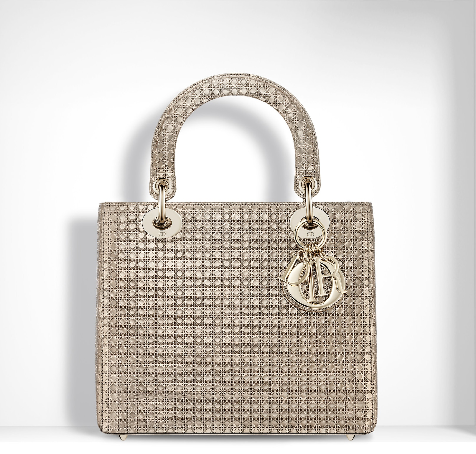 44213b2a8a Dior ChampangeMetallic Calfskin with Micro-Cannage Motif Lady Dior Small Bag