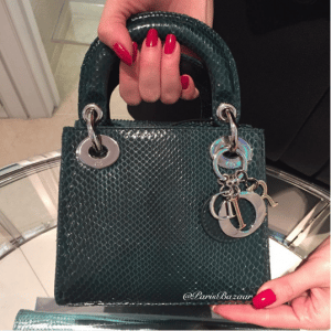 Dior Dark Green Python Lady Dior Mini Bag - Cruise 2016