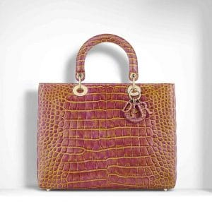 Dior Pink/Yellow Patinated Alligator Lady Dior Large Bag
