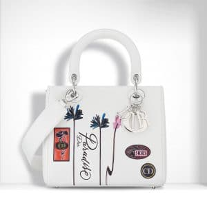 Dior White Paradise Lady Dior Bag