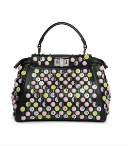 Fendi Black Beaded Peekaboo Mini Bag