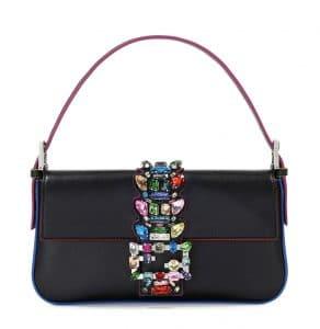 Fendi Black Crystal Strap Baguette Medium Bag