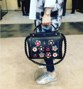 Fendi Black Floral Embellished Dot.Com Bag