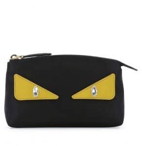 Fendi Black Monster Eye Large Beauty Case Bag