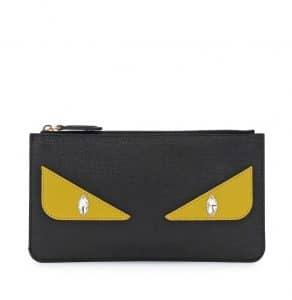 Fendi Black Monster Eye Leather Pouch Bag