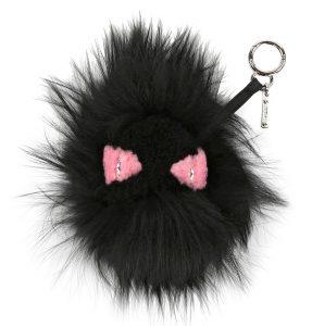 Fendi Black Monster Mixed-Fur Bag Bug Charm