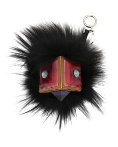 Fendi Black Prism Square Monster Fur Bag Bug Charm