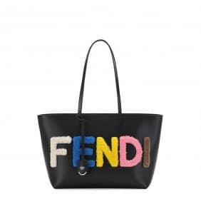 Fendi Black Shearling Fur Logo Lettering Roll Tote Bag