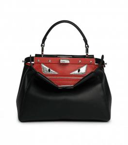 Fendi Black/Red Monster Peekaboo Mini Bag