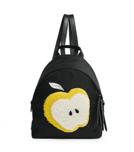Fendi Black/Yellow Apple Shearling:Nylon Mini Backpack Bag