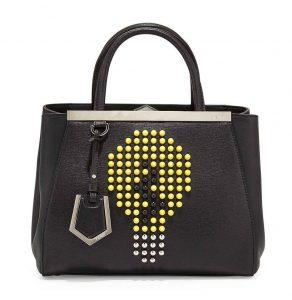 Fendi Black/Yellow Lightbulb 2Jours Petite Tote Bag