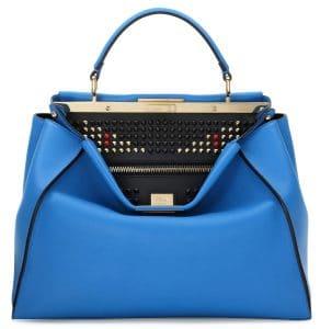 Fendi Blue Monster Eye Peekaboo Large Tote Bag