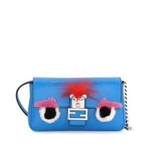 Fendi Blue Monster Micro Baguette Bag