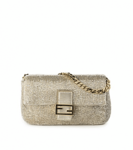 Fendi Champagne Embroidered Beaded Micro Baguette Bag
