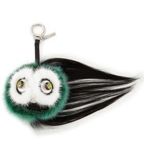 Fendi Green Multicolor Monster Fur Charm with Beak