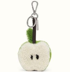 Fendi Green/White Sheepskin Apple Charm