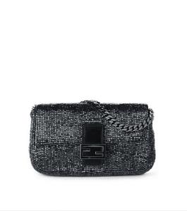 Fendi Gunmetal Embroidered Beaded Micro Baguette Bag