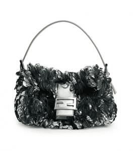 Fendi Palladium Paillette-Embellished Baguette Bag