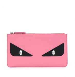Fendi Pink Monster Eye Leather Pouch Bag