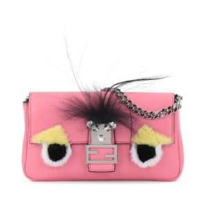 Fendi Pink Monster Micro Baguette Bag