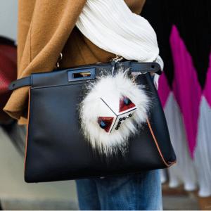 Fendi White Prism Triangle Monster Fur Bag Bug Charm 2