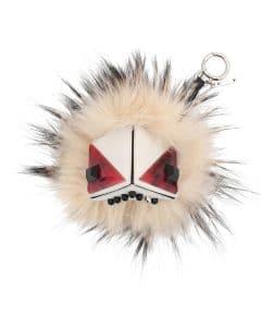 Fendi White Prism Triangle Monster Fur Bag Bug Charm