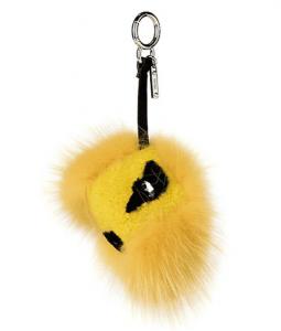 Fendi Yellow Fox Fur & Sheep Fur Bag Bug Charm