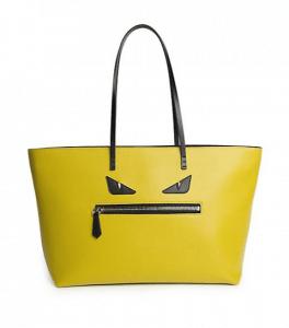 Fendi Yellow Monster Medium Roll Tote Bag