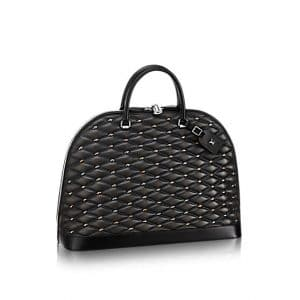 Louis Vuitton Noir Studded Malletage Alma Geant Bag