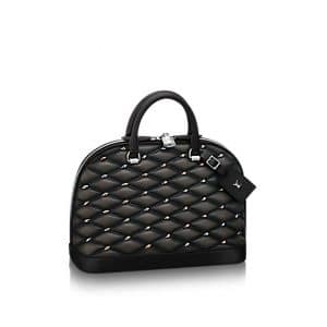 Louis Vuitton Noir Studded Malletage Alma PM Bag