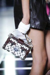 Louis Vuitton White/Burgundy Monogram Petite Malle Bag - Spring 2016