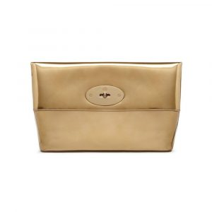 Mulberry Gold Mirror Metallic Leather Clemmie Clutch Bag