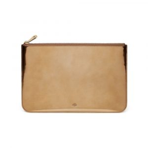 Mulberry Gold Mirror Metallic Leather Medium Flat Pouch Bag