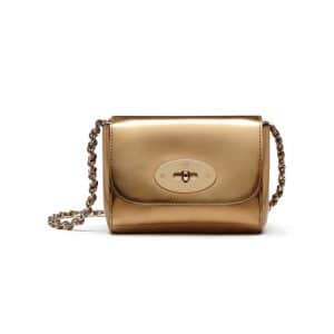 Mulberry Gold Mirror Metallic Leather Mini Lily Bag