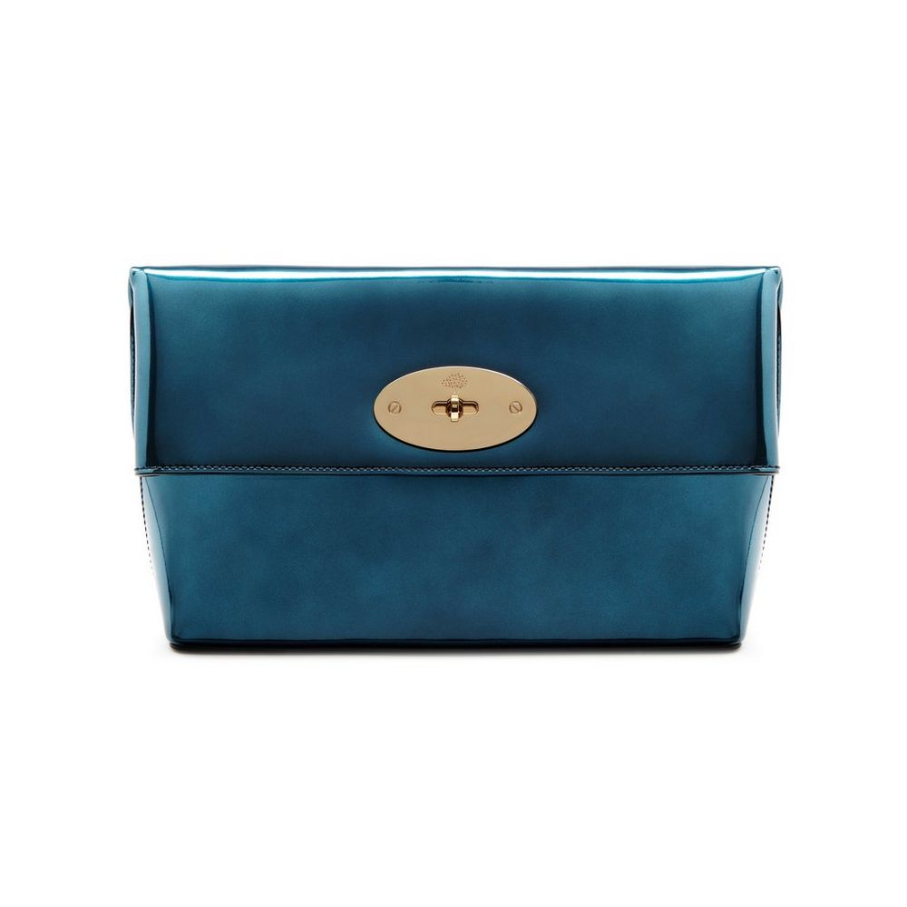 3cdb47c898cd ... uk mulberry midnight blue mirror metallic leather clemmie clutch bag  b0485 339e0