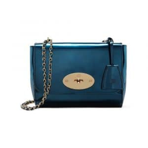 Mulberry Midnight Blue Mirror Metallic Leather Lily Bag