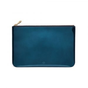 Mulberry Midnight Blue Mirror Metallic Leather Medium Flat Pouch Bag