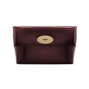 Mulberry Oxblood Metallic Leather Clemmie Clutch Bag