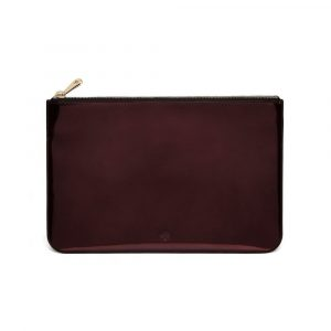 Mulberry Oxblood Mirror Metallic Leather Medium Flat Pouch Bag