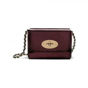 Mulberry Oxblood Mirror Metallic Leather Mini Lily Bag