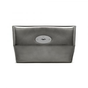 Mulberry Silver Mirror Metallic Leather Clemmie Clutch Bag