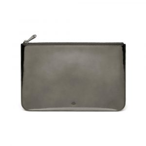 Mulberry Silver Mirror Metallic Leather Medium Flat Pouch Bag