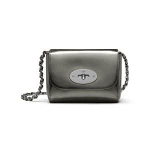 Mulberry Silver Mirror Metallic Leather Mini Lily Bag