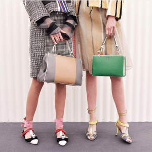 Prada Grey/Beige and Green Top Handle Bags - Spring 2016